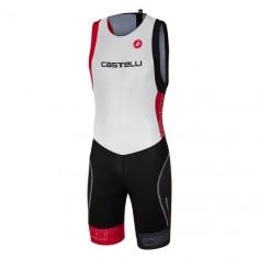 Tritraje Castelli Short Distance Suit Color Blanco Negro Rojo