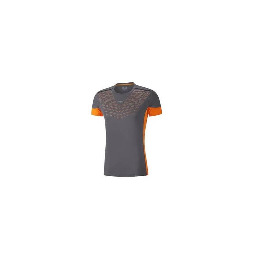 Camiseta Mizuno COOLTOUCH VENTURE TEE Color Gris y naranja