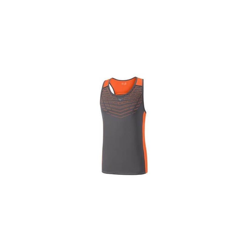 Camiseta sin mangas Mizuno Cooltouch V Sinlet Gris y Naranja