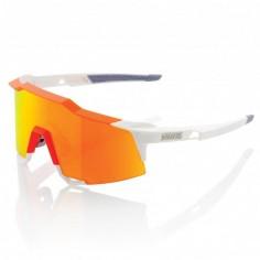 Gafas de ciclismo 100% Speedcraft LL Blanco/naranja, lentes Hiper Red Multilayer Mirror