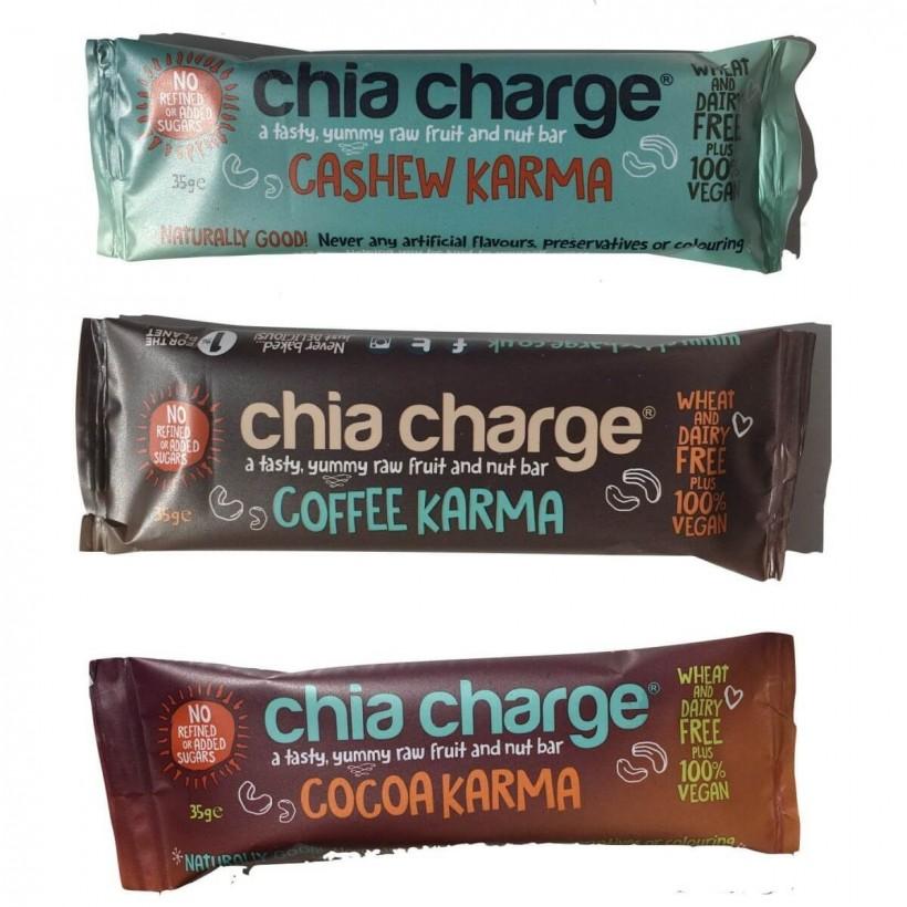 Chia Charge Barrita Energetica Karma sabor: Cacao, anacardos o café