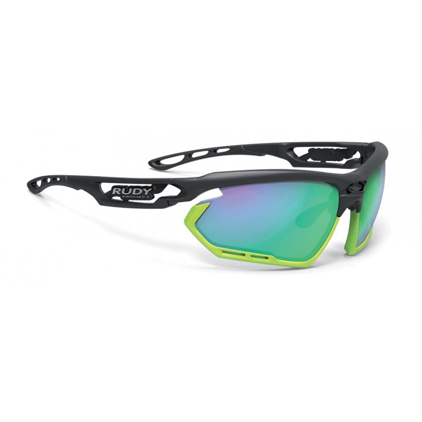 Fotonyk Rudy Project Sunglasses Matte Black Frame, 3FX green mirror polar lens
