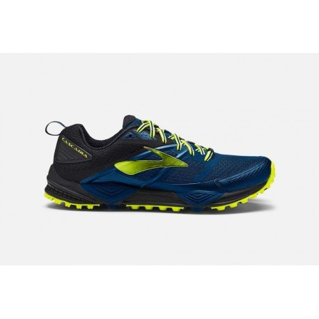 Zapatillas de trail Brooks - Cascadia 12. Color azul/negro/amarillo