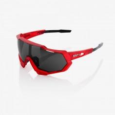 Gafas ciclismo 100% Speedtrap matte rojo y negro con lente espejo negra
