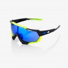Gafas 100% Speedtrap Polished negro matte y amarillo neon con espejo azul eléctrico