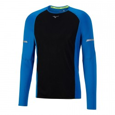 Camiseta Mizuno Aero LS Tee Azul/Negro hombre