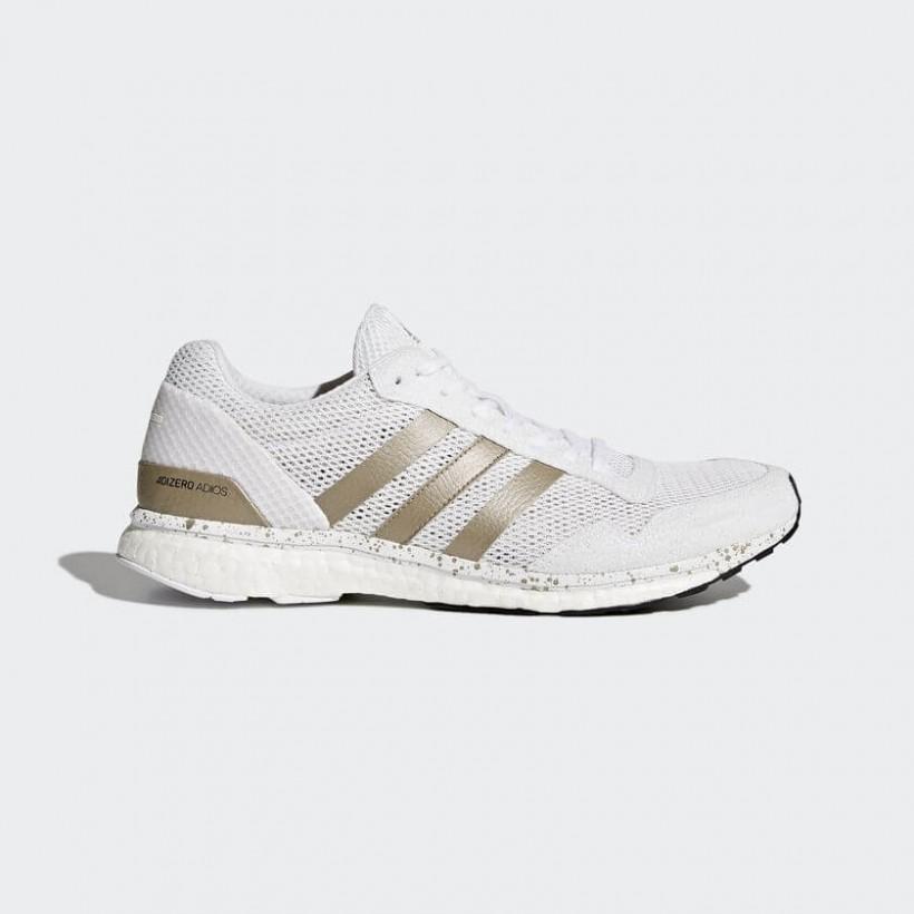 Adidas Adizero Adios blanco y metálico Hombre PV18
