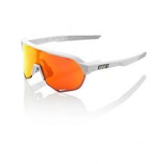 Gafas 100% S2 Blanco Soft Tact off - Lentes Hiper Red