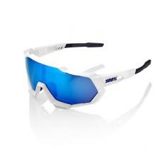 100% Speedtrap Matte White (Hyper Blue Mirror Lens)