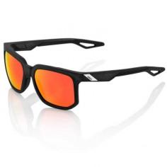 Gafas 100% Centric negro con lente HD roja espejo