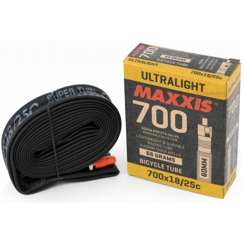 Cámara Maxxis Ultralight 700x18-25C Presta 60mm.