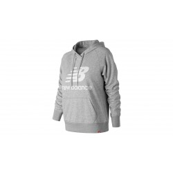 Sudadera New Balance Gris Essentials Pullover con capucha Mujer