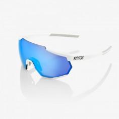Gafas 100% Racetrap Matte Blanco - Hiper Azul Multilayer Lente Mirror