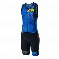 Castelli Free Sanremo Rosso Corsa Sleeveless Trisuit Navy Blue Yellow Fluor Man