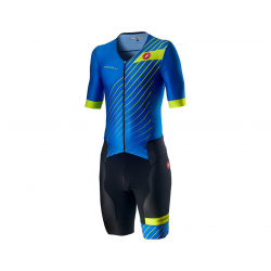 Castelli Free Sanremo 2 Short Sleeve Suit Blue Yellow