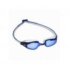 Aqua Sphere Fastlane Swimming Goggles White Blue Mirrored Lenses