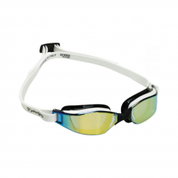 Phelps Xceed Swimming Goggles Black White Gold Mirrored Lenses