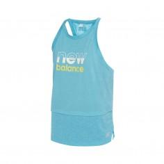 New Balance Printed Impact Run Hybrid Sleeveless T-Shirt Turquoise Blue Women
