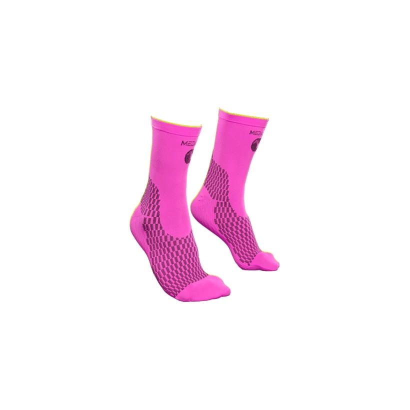 Calcetín Rosa Neon-Negro NRG Ciclismo Técnico de Compresión Sportlast de Medilast